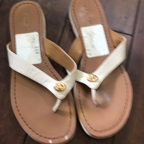 Coach Shoes | Coach White Flip Flops